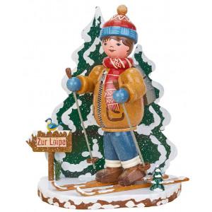 Räuchermann Winterkinder Schneeschuhfahrer