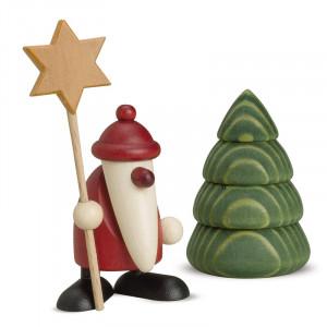 Weihnachtsmann mit Stern und Baum