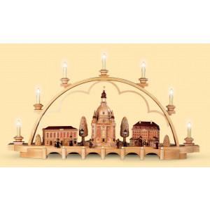 Schwibbogen Alt Dresden mittelgroß, natur, 120 Volt