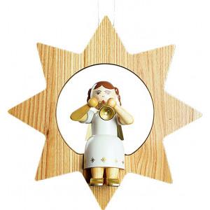 Baumbehang Engel mit Trompete im Stern, groß