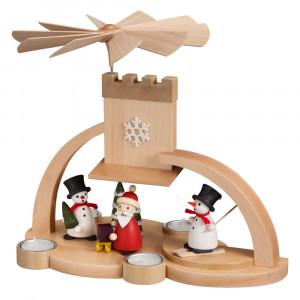 Moderne Teelichtpyramide mit Schneemann und Weihnachtsmann