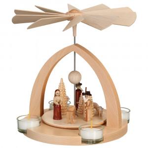 Moderne Teelichtpyramide Christi Geburt natur
