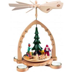 Teelichtpyramide Winterwald mit Weihnachtsmann, bunt