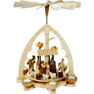 Teelichtpyramide mit Motiv Christi Geburt