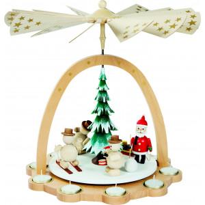 Teelichtpyramide Schneemänner