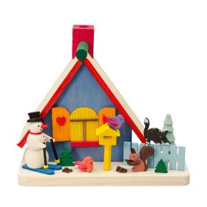 Räucherhaus mit Schneemann