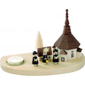 Teelicht-Kerzenhalter Seiffener Kirche mit Kurrende