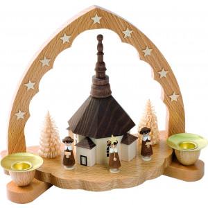 Kerzenhalter Seiffener Kirche mit Kurrendefiguren