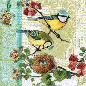 Tischservietten Vogelfamilie