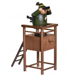 Räuchermännchen Jäger auf Hochstand mit Spieldose, limitiert