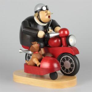 Räuchermännchen Motorradfahrer mit Beiwagen