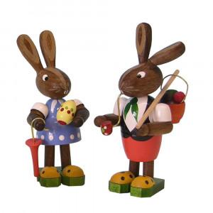 Osterhasen-Paar mit Schirm
