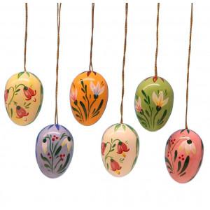 Baumbehang Ostereier mit Blumenmotiven, 6-teilig, 35 mm