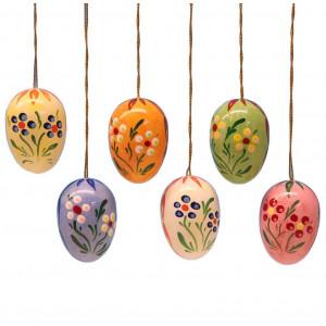 Baumbehang Ostereier mit Punkte-Blumen, 6-teilig, 35 mm