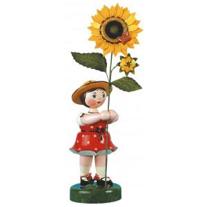 Blumenmädchen mit Sonnenblume rot/weiß