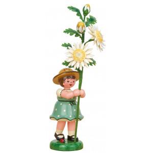 Blumenkind Mädchen mit Edelweißmargerite, 17 cm