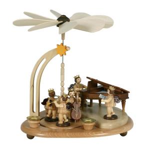 Engelpyramide Engel am Flügel / Sänger / 3 Bläser natur