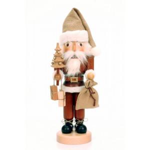 Nussknacker Weihnachtsmann natur mit Tanne