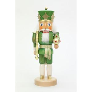 Nussknacker König grün/gold lasiert