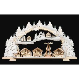 3D-Mehrschicht-Schwibbogen Weihnachtsmarkt verschneit, 70 cm
