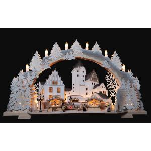 3D-Mehrschicht-Schwibbogen Schlossweihnacht Schwarzenberg verschneit, 70 cm