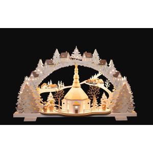 LED-Mehrschicht-Schwibbogen Seiffener Kirche mit Kurrende