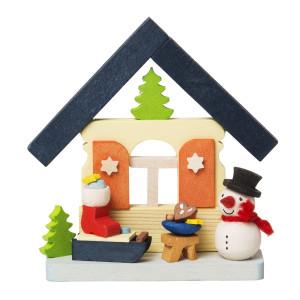 Baumbehang Haus Schneemann mit Nikolausschlitten