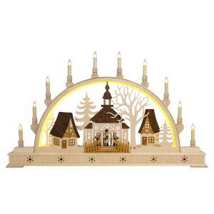 LED-Schwibbogen Seiffener Kirche mit Sockel