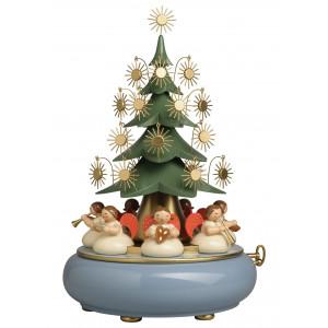 Spieldose mit unter dem Weihnachtsbaum sitzenden Engeln Merry Christmas