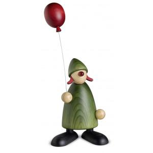 Gratulantin Lina mit Luftballon, grün, 17 cm