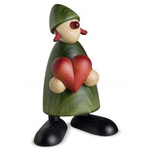 Gratulantin Thea mit Herz, grün, 17 cm
