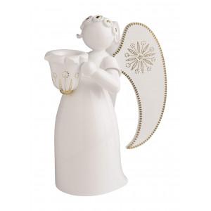 Engel groß mit Lichtnapf weiß, golden bemalt