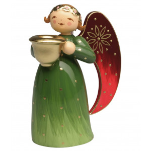 Engel klein mit Lichtnapf reich bemalt, grün