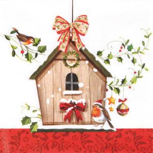 Tischservietten Vogelhaus im Winter