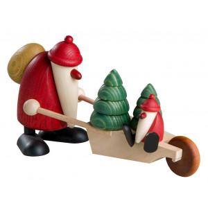 Weihnachtsmann mit Schubkarre und Kind, groß