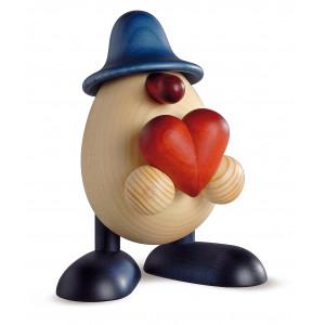 Eierkopf Hanno mit Herz, blau