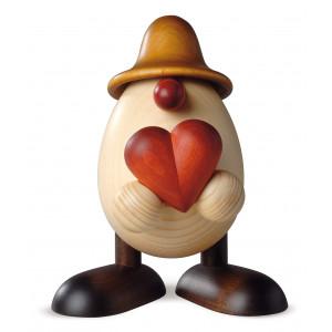 Eierkopf Hanno mit Herz, braun