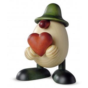 Eierkopf Hanno mit Herz, grün
