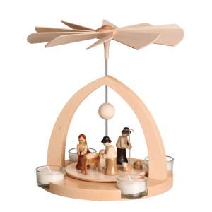 Moderne Teelichtpyramide Geburt Christus natur