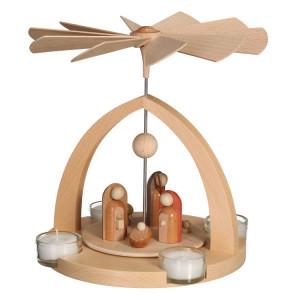 Moderne Teelichtpyramide Jesus Geburt natur