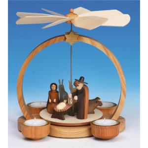 Teelichtpyramide Christi Geburt, natur