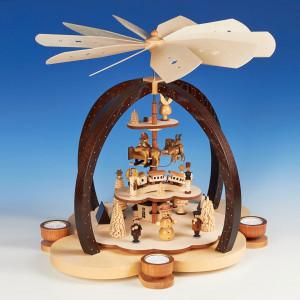 Teelichtpyramide Wolkenzauber, natur