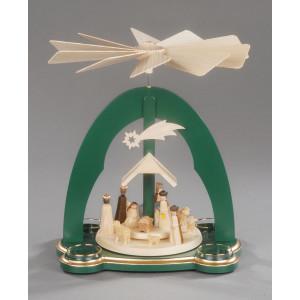 Teelichtpyramide Christi Geburt grün