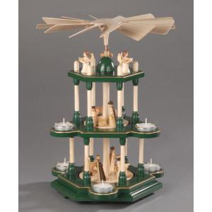 Teelichtpyramide Christi Geburt 3 Etagen grün