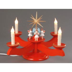 Adventsleuchter mit Engel rot elektrisch