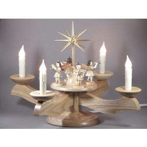 Adventsleuchter mit Blank-Engeln, elektrisch