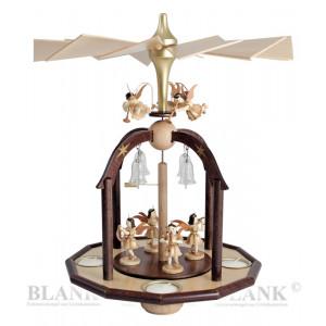 Teelichtpyramide mit 7 Engel und Glasglöckchen