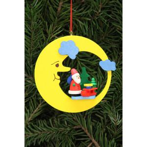 Baumbehang Weihnachtsmann mit Schlitten im Mond