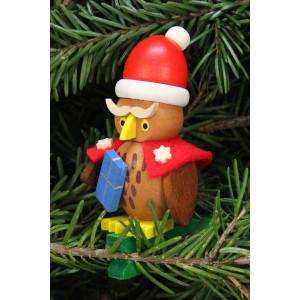 Baumbehang Eule Weihnachtsmann auf Klammer