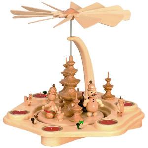 Teelichtpyramide Schneemann Junior mit Tieren